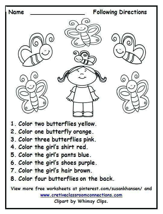 Following Directions Worksheet Follow Directions Worksheet Following Directions Kindergarten Worksheets