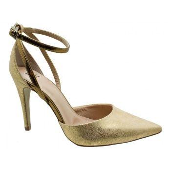 Sandália DM Extra Craquelê Dourado. Fivela dourada na lateral que facilita o calce. Forro e palmilha bege, debrum da palmilha metalizado bro...