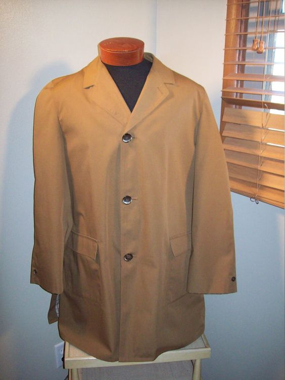 Vintage 1960s Spy Vs Spy Rainfair Spring Rain Coat Jacket / Retro