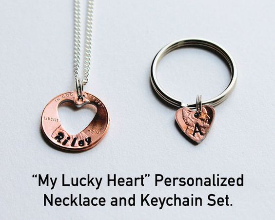MY LUCKY HEART. Penny Keychain and Necklace. by JewelryImpressions