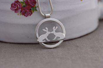 Kissing Hares Handmade Silver Pendant