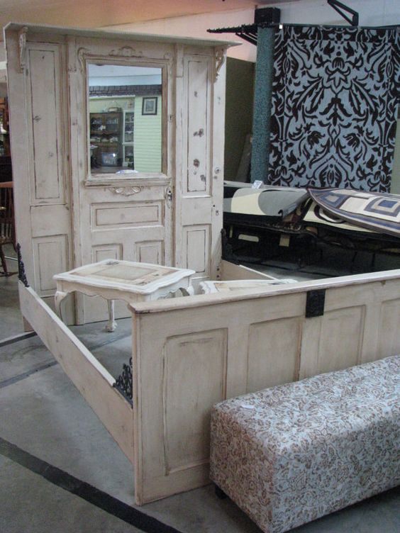 Unique Use Of Old Doors Architectural Salvage Vintage Door Custom Made Bed Furniture Rustic