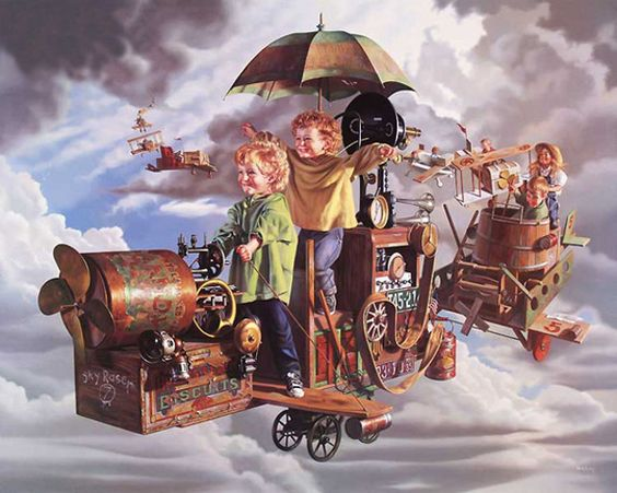 Flight of the Angels by Bob Byerley: Byerly Paintings, Angels Bob, Art Bob Byerly, Artists Mostly Children, Z Artist Bob Byerley, Art Bob Byerley, Bob Byerley Artist, Byerley Paintings