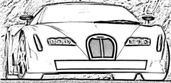 Luxury Car Bugatti Veyron Coloring Page