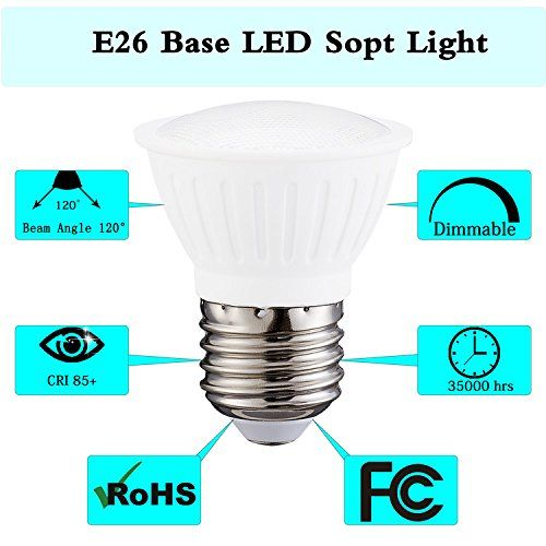 Pack Of 4 Par16 Led Dimmable Flood Light Bulbs 5watt E26 Short Neck 120v Ac 50w Halogen Replacement 120 Degree Beam Angle Daylight Light Bulb Light Bulbs Bulb
