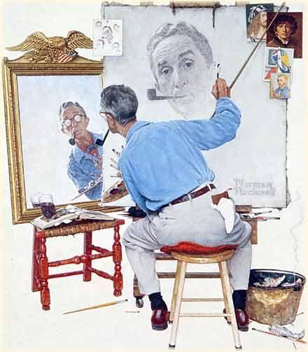 [PEINTURE] Norman Rockwell, se dessine en train de se représenter. Le même procédé est à l'oeuvre. On peut le voir à la fois de face et de dos, tous les points de vue sont rassemblés dans cette image... [Norman Rockwell, Triple Self-Portrait, 1960, huile sur toile, 113,5 x 87,5 cm]
