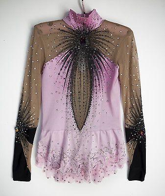 Rhythmic gymnastics / figure skating competition pink/black leotard 124-132 cm
