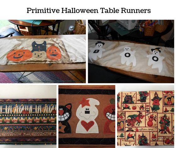 Primitive Halloween Table Runners