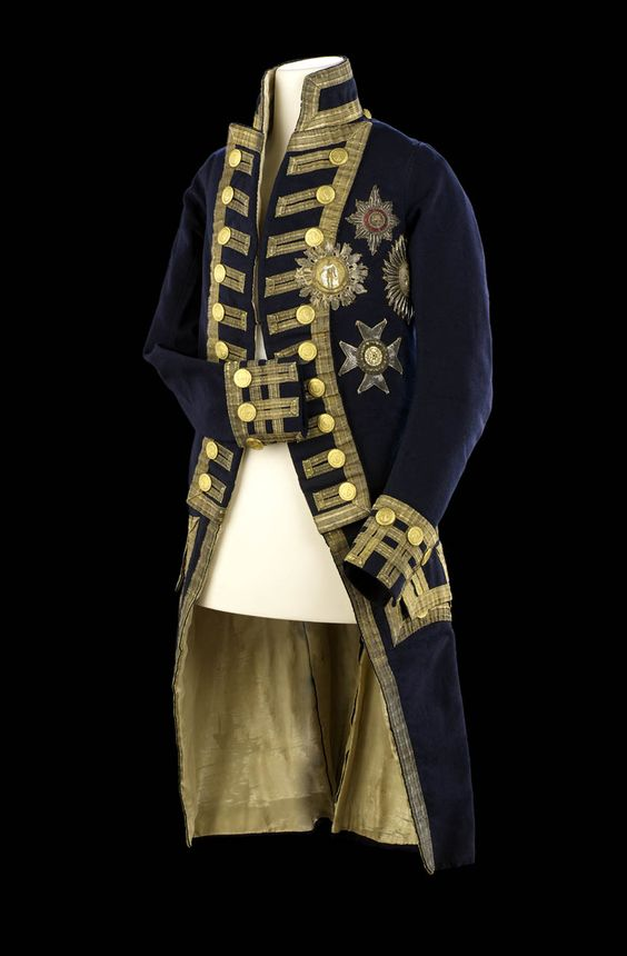 Royal Naval uniform: pattern 1795-1812. Vice-Admiral's full dress coat belonging to Lord Nelson. The coat is of blue wool cloth with blue stand-up collar, lapels and cuffs. 	before 1805.