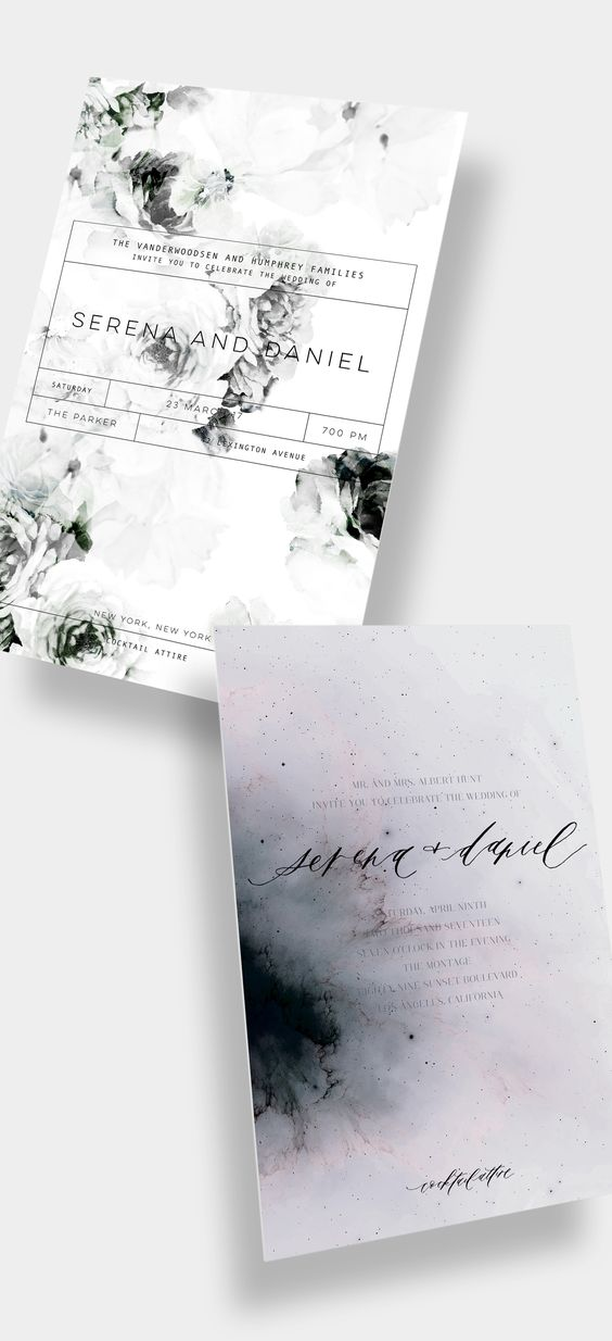 Design Your Own Wedding Invitation Suite or Save the Date / Modern / Unique / Luxury / Floral / Watercolor / Calligraphy / Letterpress / Foil Stamp / Black + White / Muted Purple / Celestial / Customizable / #myownblissandbone