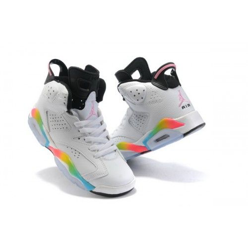 Nike Air Jordan 6 Retro Women Shoes 07 White Rainbow 1