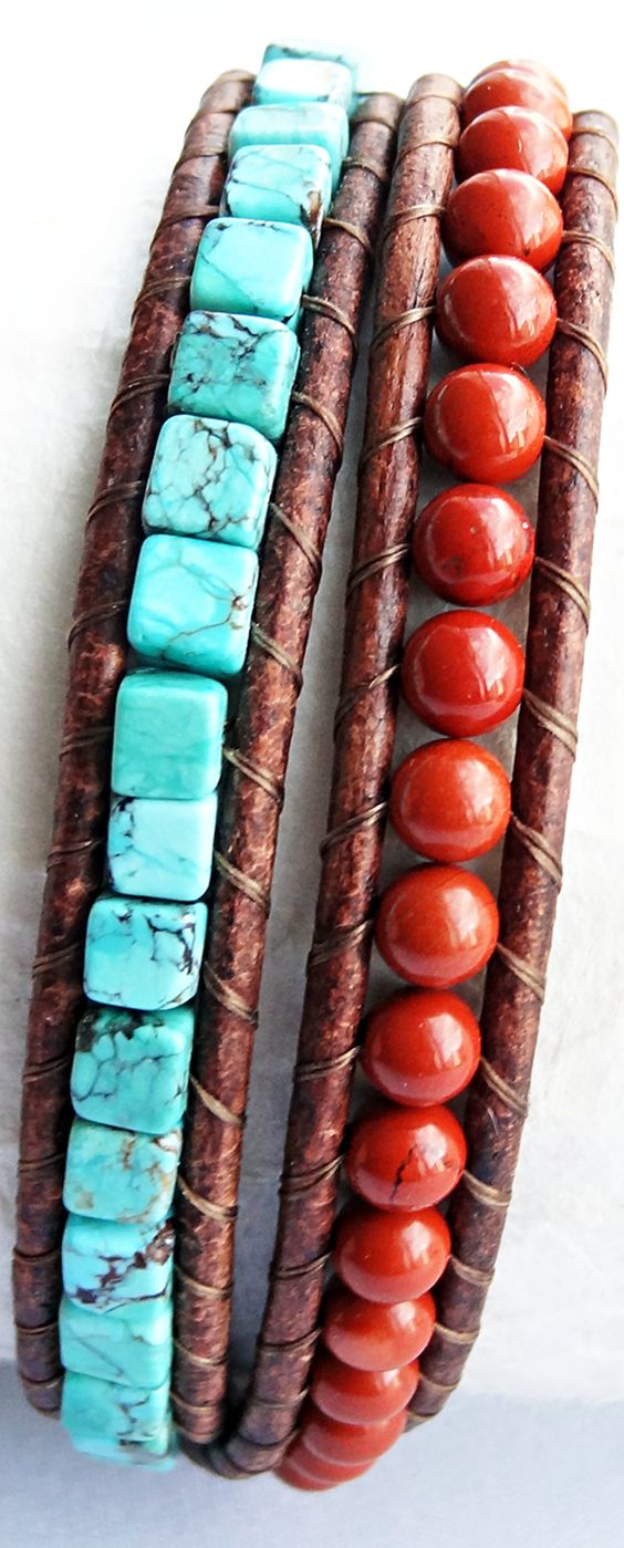 Southwest Style - Turquoise Cube and Red Jasper Beaded Brown Leather Bracelet #turquoise #southwestern