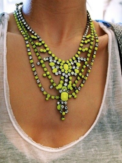 Summer must-have: Neon Pavé Jewels #neon #jewelry #necklace