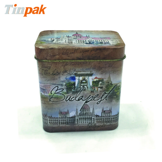 Elegant printing for this mini tea storage tin can is based on clients' design.