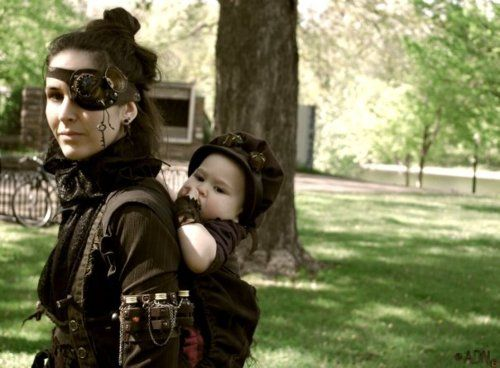Mother and child in steampunk costume