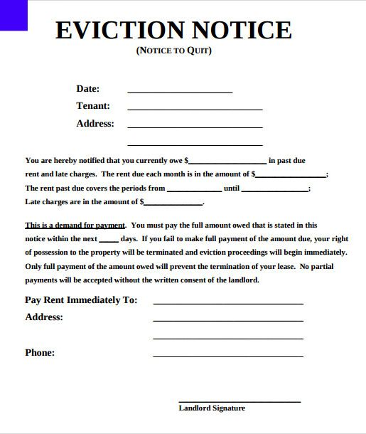 Printable Eviction Notice Eviction Notice Being A Landlord Rental Agreement Templates