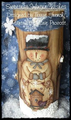 Painted Snowman on log $5.00 USD