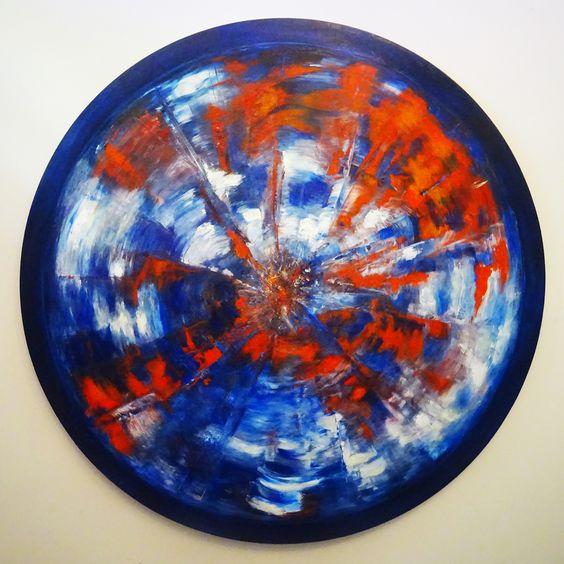 19 L'oeil de Beuf- impresja II akryl,olej na płótnie ø100 cm, 2019