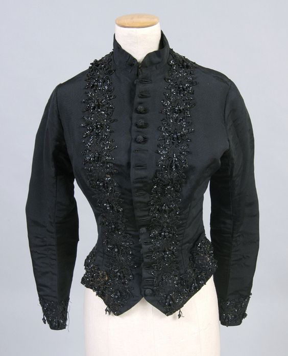 Bodice, c. 1885, American: black silk faille and beads. Look at that gorgeous beadwork! (Philadelphia Museum of Art collection)