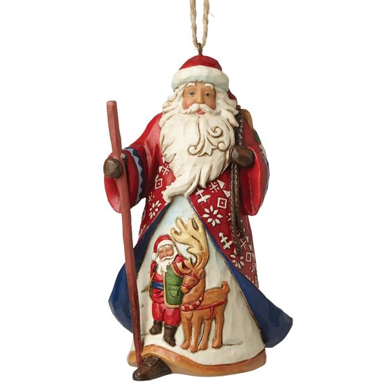 4053833 Lapland Santa (Hanging ornament)- Jim Shore's Lapland Santa features a beautifully carved scene with reindeer and intricate decorative patterning #Lapland #JimShore #Santa