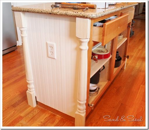 How to add half newel posts and beadboard wainscot to for Add beadboard to kitchen cabinets