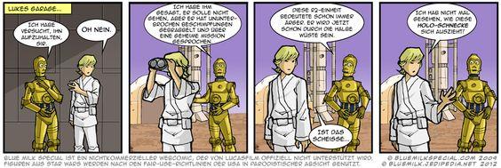 Wirkt ein bisschen verschossen, der Luke Skywalker. Leider in seine Schwester.