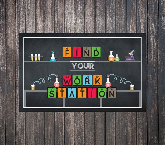 "Science Scientist Party Decor - ""Find your Work station"" sign for mad science birthday party themes! Instant download and printable!"