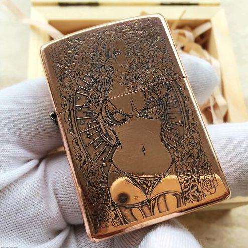 2003 Japanese Zippo Copper Arabesque And Girl Lighter Zippo Lighter Custom Zippo Lighter