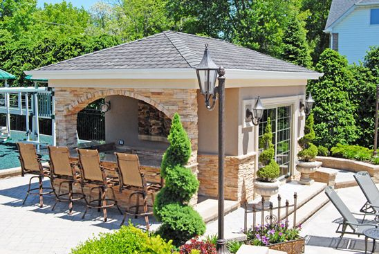 Pool houses pool parties and pools on pinterest for Pool house plans with outdoor kitchen