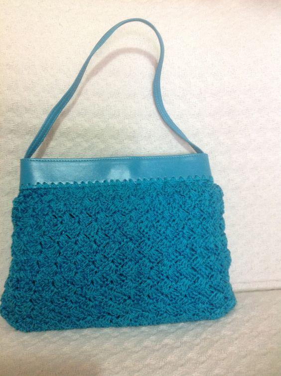 Bolsa de crochê azul | Ateiras | Elo7