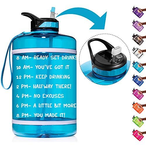 Hydromate 1 Gallon Straw Motivational Water Bottle With Time Marker Large Bpa Free In 2020 Motivational Water Bottle Inspirational Water Bottle Leak Proof Water Bottle