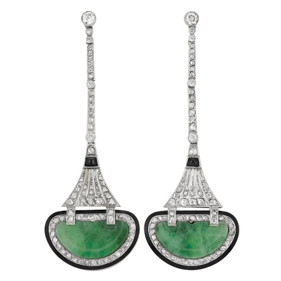[Gorgeous] Pair of Art Deco Platinum, Diamond, Carved Jade, Black Onyx and Black Enamel Pendant-Earrings   The slender bar links joined by pierced tapered panels, set with 6 old European-cut and rose-cut diamonds, accented by 2 sugarloaf cabochon black onyx,   supporting 2 half moon-shaped carved jade panels approximately 10.0 x 17.6 x 1.2 mm., edged by black enamel, circa 1920.