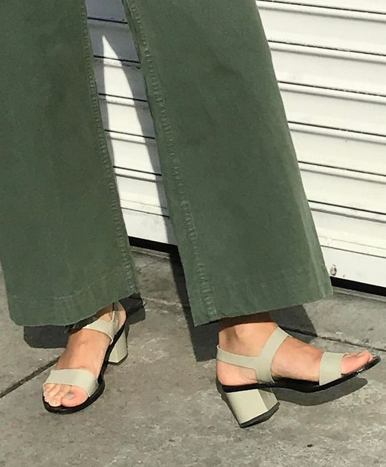 Green wide leg pant and sage green block heel sandals