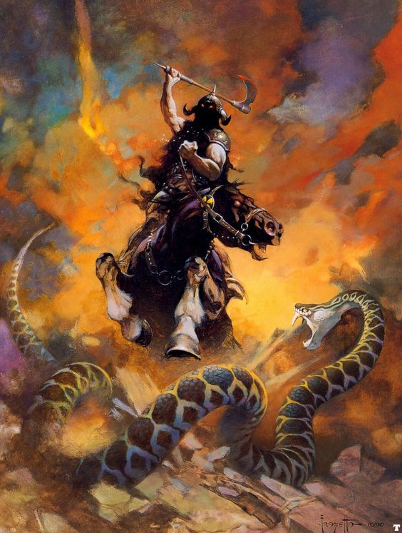 Frank Frazetta - Death Dealer VI | Fantasy art, oil painting | http://en.wikipedia.org/wiki/Frank_Frazetta: