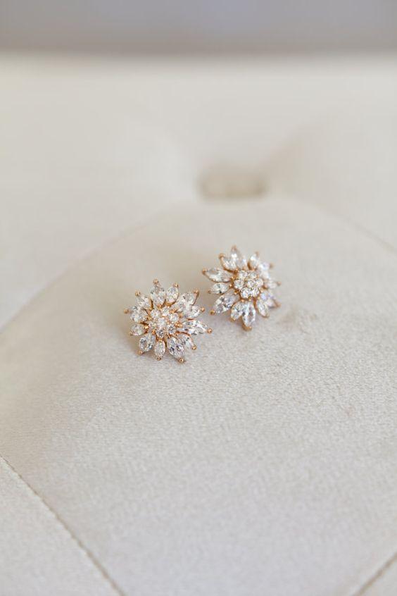 Vintage Wedding Earrings Gold Wedding Earrings by GildedShadows