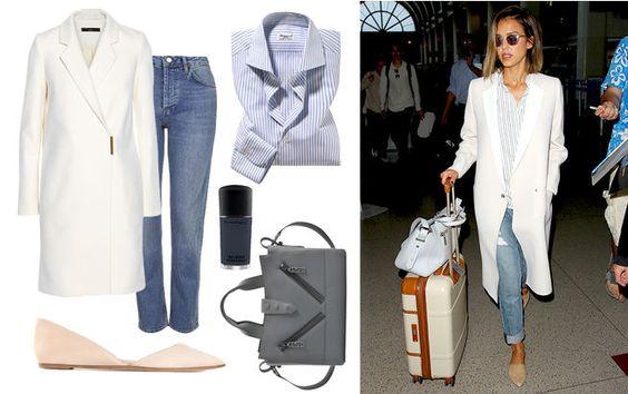 Jessica Alba im eleganten Reise-Look am Flughafen von L.A.