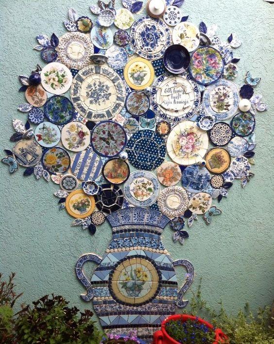 broken china mosaic garden wall. Wow.
