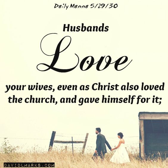 Daily Manna 5/29/16 Husbands, love your wives, even as Christ also loved the church, and gave himself for it; Ephesians 5:25 #love #husbands #marriage #bible