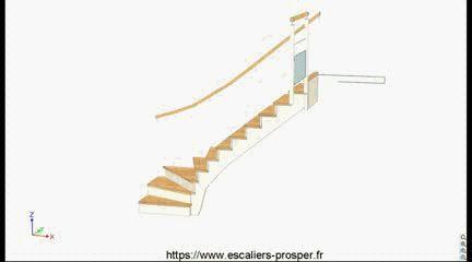 """Cet escalier en L (1/4 tournant) est léger et compact grâce à structure en crémaillère """"à l'anglaise"""" avec contre-marche. Les marches sont en chêne, l'ensemble de la structure et des contres-marches est laqué. Avec une simple mains courante mural (hors Norme) et un retour de rampe d'étage avec un soubassement en verre. Images complémentaires  & plans & téléchargement de vidéo sur notre page dédiée : http://lc.cx/E14-397-2"""