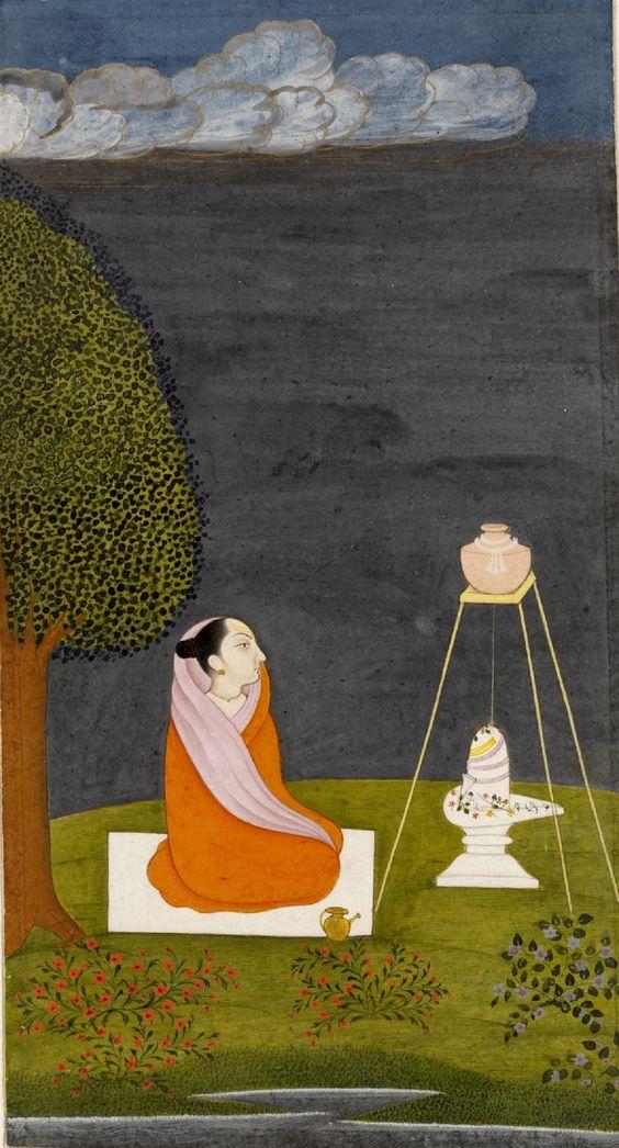 Yogini seated at Shiva shrine, opaque watercolour on paper, Jammu, ca. 1745. (Bhairavi ragini?)