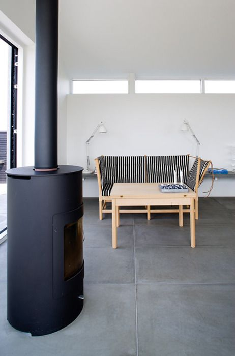 wood burning stove & stripe seating