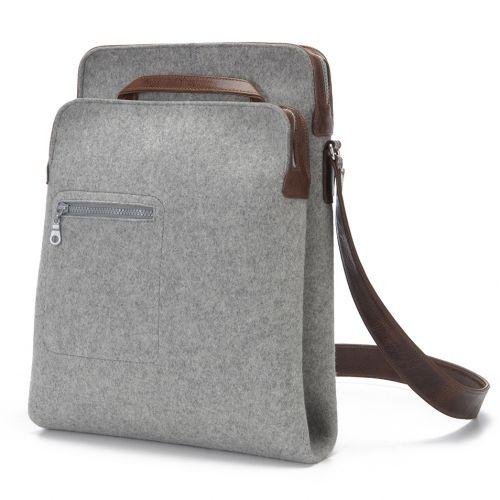 Awesome Messenger Bag, Zip-Top grey felt, leather straps by Graf & Lantz. Now available at Silo American Made.