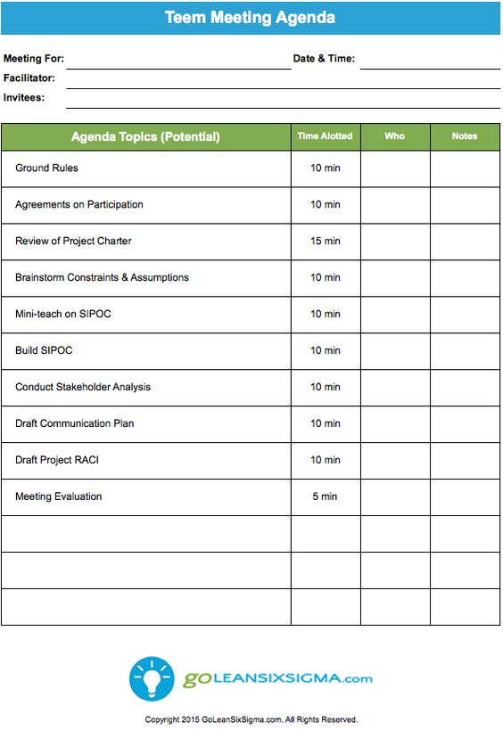 Team Meeting Agenda Template Official Templates Pinterest - professional meeting agenda template
