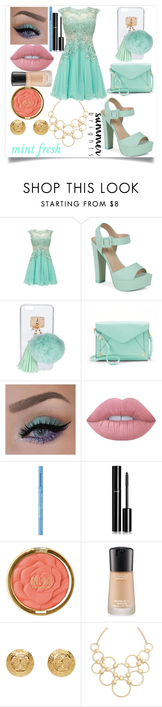 """minty fresh"" by whitewood ❤ liked on Polyvore featuring Call it SPRING, Ashlyn'd, Apt. 9, Lime Crime, Too Faced Cosmetics, Chanel, Milani, MAC Cosmetics, Versace and Vera Bradley"