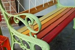 Colorful Garden Bench. $250.00, via Etsy.