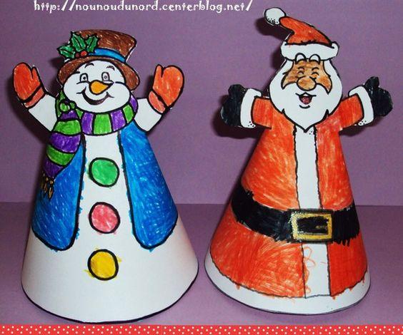 Encore une belle décoration pour NOËL J'ai réaliséles gabarits du Père Noël et du Bonhomme de neigeLison c'est appliquée pour bien les colorier puis j'ai agrafé le cône au dos. Gabarit ...