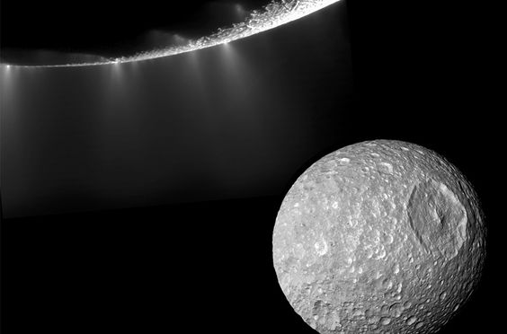 """Water-Ice Geysers  At least 30 separate water-ice geysers shoot from the moon Enceladus in this image. After discovering this remarkable activity in 2005, Cassini flew through the plumes and found them full of life-friendly molecules.   """"Our discovery of salty liquid water bathed in heat and suffused with organic compounds under the south pole of Enceladus is, the most exciting discovery that has ever been made in our solar system,"""" Porco says. """"It's a habitable zone, and it's accessible."""""""