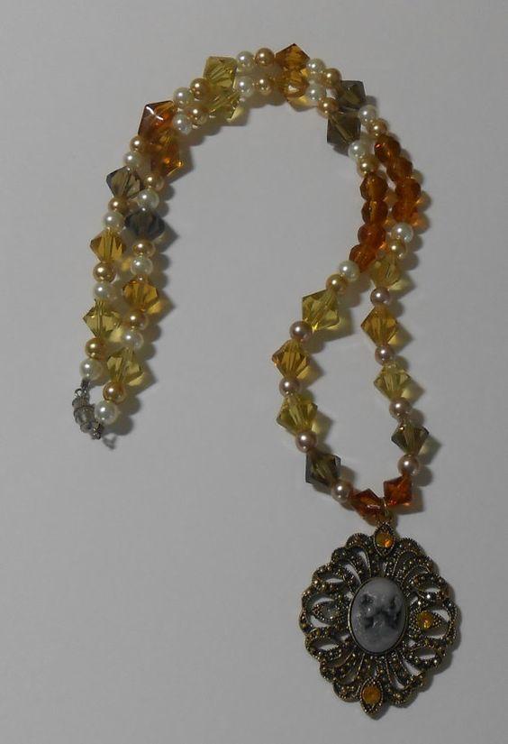Glass Beads Cameo Necklace handmade jewelry by MinarciksFineArt