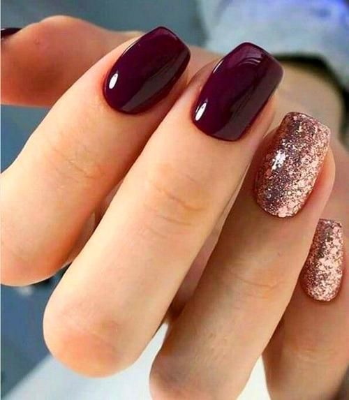 Gel Nails In 2020 Glitter Gel Nail Designs Short Square Nails Wine Nails