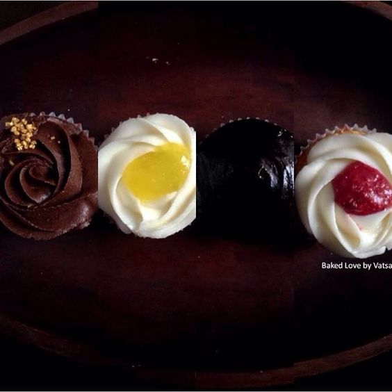 Classic Chocolate, Pineapple Punch, Chocolate Truffle, Raspberry Zinger. (L-R)  #bakedlove #bakedlovebyvatsala #cupcakes #foodtalkindia #bakewithshivesh